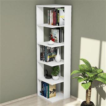 81 10 Sur Etagere Bibliotheque D Angle Design Olgha L 42 X H 161 Cm Blanc Achat Prix Fnac