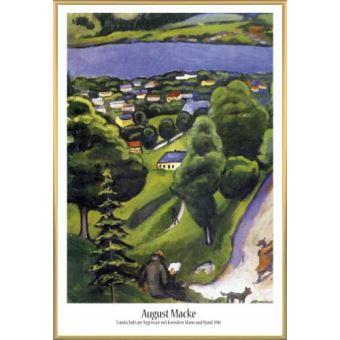 Poster Encadre August Macke Paysage Du Tegernsee Avec Homme Qui