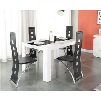 DAMIA Table a manger 4 a 6 personnes style contemporain en panneaux de  fibres blanc et verre noir + 4 chaises en simili - L140xl