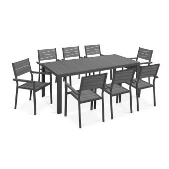 Table de jardin 8 places aluminium et polywood - - Gris