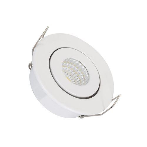 Spot Downlight LED COB Orientable Rond 1W Blanc Coupe Ø44 mm Blanc Chaud 3000K 60º
