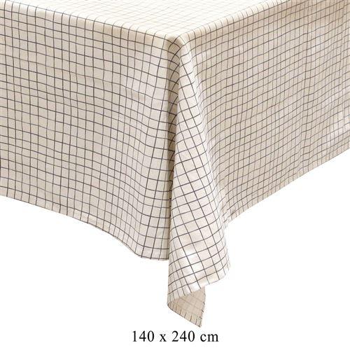 Nappe rectangulaire quadrillage vintage Little Market - L. 240 x l. 140 cm - Blanc