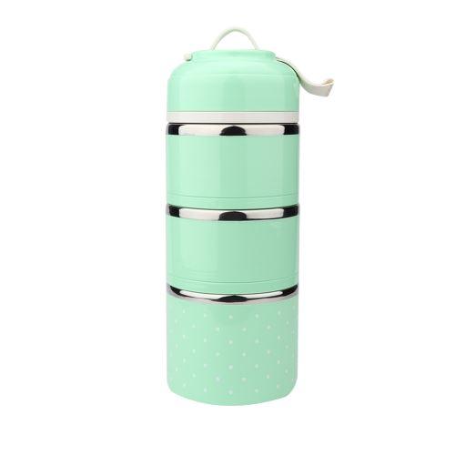 Boîte à lunch isotherme en acier inoxydable 3 compartiments - Vert