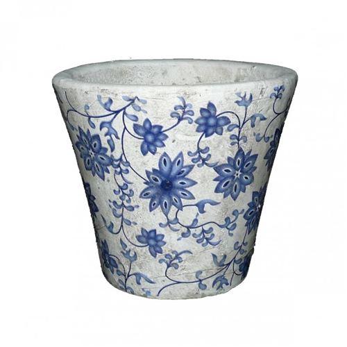 L'Héritier Du Temps - Petit cache pot etanche style champêtre aux motifs floraux bleutés en terre cuite 11x13x13cm