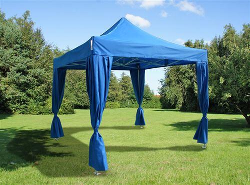 Tente pliante Chapiteau pliable Tonnelle pliante Barnum pliant FleXtents PRO 3x3m Bleu, incl. 4 rideaux decoratifs
