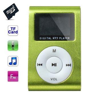 Lecteur MP3 4 Go - à carte mémoire - clip ceinture - Ecran LCD - Radio FM - Vert