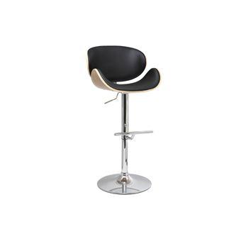 tabouret de bar design noir et bois clair walnut achat prix fnac - Chaise De Bar Design
