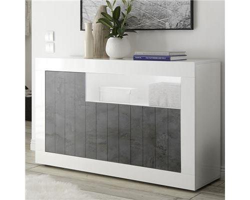 Petit buffet 140 cm moderne blanc effet béton gris foncé URBAN 6 - L 138 x P 42 x H 86 cm