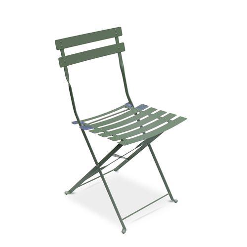Salon de jardin bistrot pliable - Emilia rond vert de gris ...