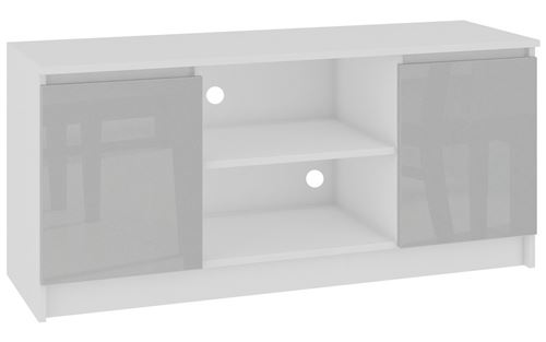 DUSK | Meuble bas TV contemporain salon/séjour 120x55x40 cm | 2 niches + 2 portes | Rangement matériel audio/video/gaming | Blanc/Gris clair laqué