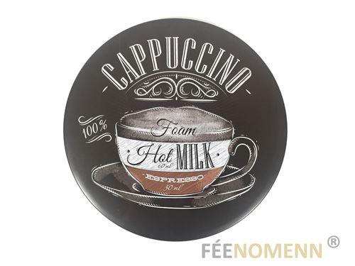 plaque métal déco vintage - forme arrondie - recette café cappuccino façon ardoise (diam. 30cm)