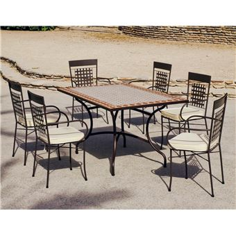 Hevea - Salon de jardin mosaïque table rectangulaire Atrium ...