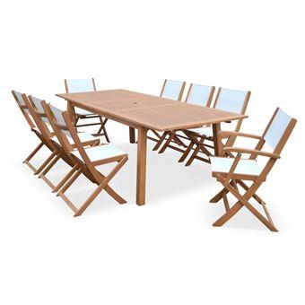40€ sur Salon de jardin en bois extensible Almeria Grande table 180 ...