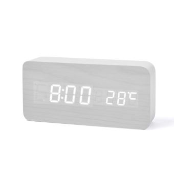 Fibisonic horloge en bois LED,réveil numérique avec