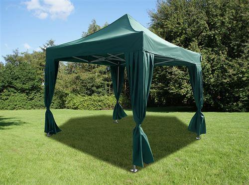 Tente pliante Chapiteau pliable Tonnelle pliante Barnum pliant FleXtents PRO 3x3m Vert, incl. 4 rideaux decoratifs