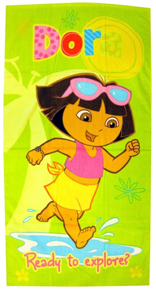 Nickelodeon Serviette de bain Dora verte junior 70 x 140 cm