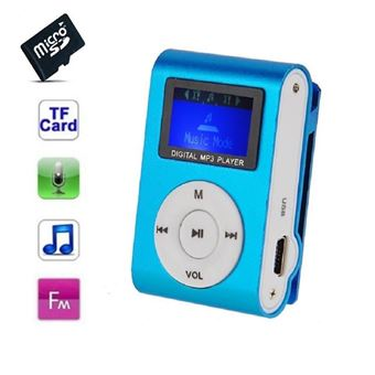 Lecteur MP3 4 Go - à carte mémoire - clip ceinture - Ecran LCD - Radio FM - Bleu