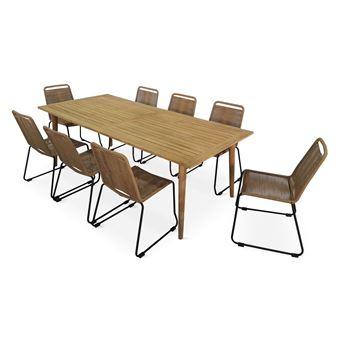 130€ sur Salon de jardin en bois et corde 8 places RIO - Table en ...