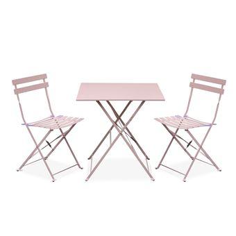 Salon de jardin bistrot pliable - Emilia carré rose pale - Table 70x70cm