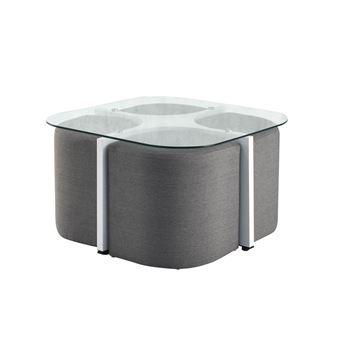 Et Avec Table Blanc Alban Carrée Verre En Basse Poufs Gris fb76gy