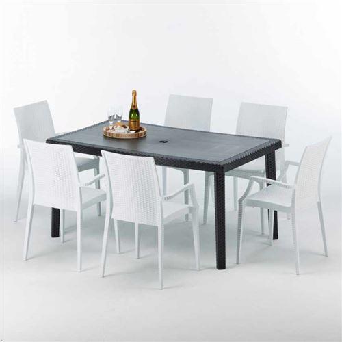 Grand Soleil - Table rectangulaire et 6 chaises Poly rotin colorées 150x90cm noir Enjoy, Chaises Modèle: Bistrot Arm Blanc