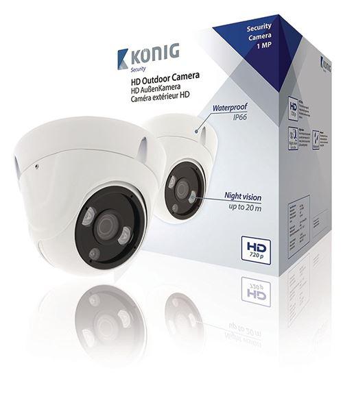König Caméra de surveillance HD SAS ahdcam01 Vidéo Dôme IP66 Blanc