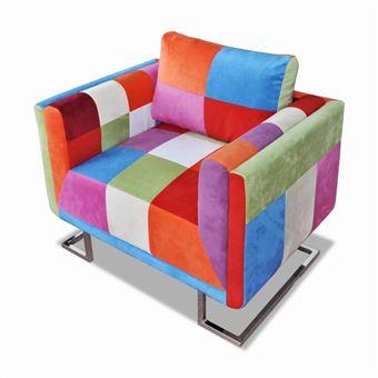 vidaXL Fauteuil cube avec design de patchwork Chrome Tissu