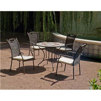 Hevea - Salon de jardin résine métal et mosaïque Aney Beldey ...