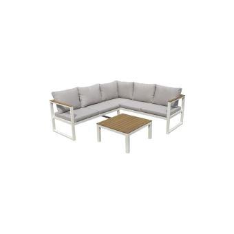 Palma Salon De Jardin 5 Places En Metal Et En Bois Deucalyptus - Canape  Dangle Modulable Avec Une Table Basse - Gris Et Blanc