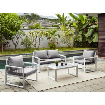 Salon de jardin KIRIBATI en aluminium et cordes: un canapé 2 places ...