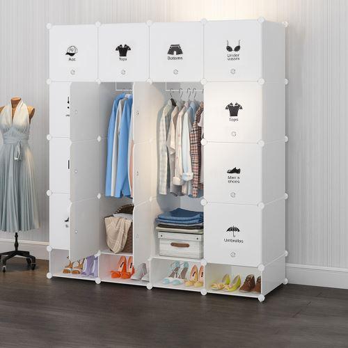 Armoire Penderie DIY Etagères de Rangement Meuble Modulable pour Vêtements Chaussures Jouets Blanc