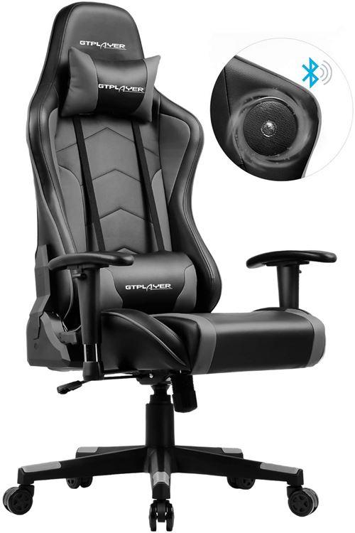 GTPLAYER Chaise Gaming de Bureau Fauteuil de Bureau Chaise Gamer Music avec Haut-Parleur Bluetooth, Design Ergonomique