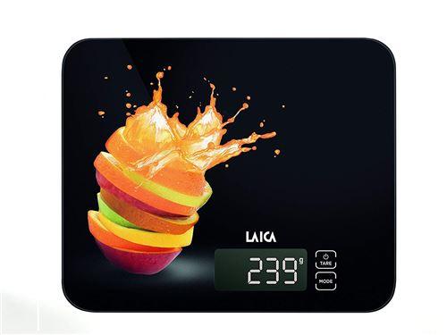laïque ks5015 Balance de cuisine électronique, noire, Verre Trempé, touches Touch Sensor, 15 kg