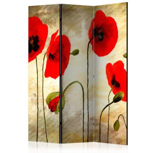 Paravent 3 volets - Golden Field of Poppies [Room Dividers] - Décoration, image, art | 135x172 cm |