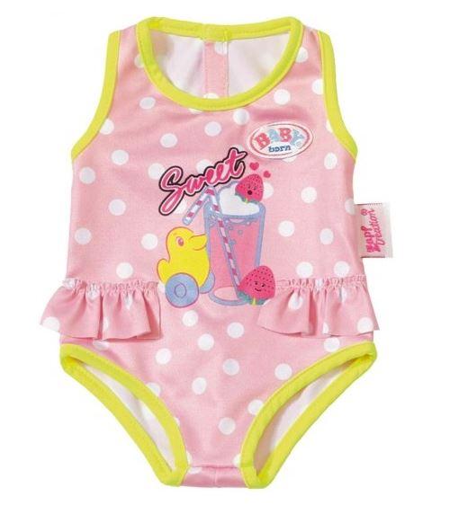 Habit poupee 43 cm : maillot de bain rose avec canard jaune - zapf za30