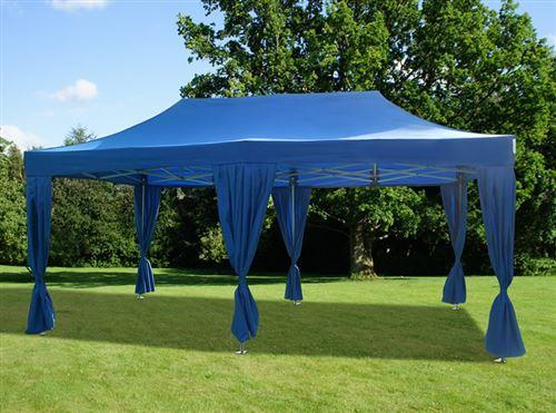 Tente pliante Chapiteau pliable Tonnelle pliante Barnum pliant FleXtents PRO 3x6m Bleu, incl. 6 rideaux decoratifs