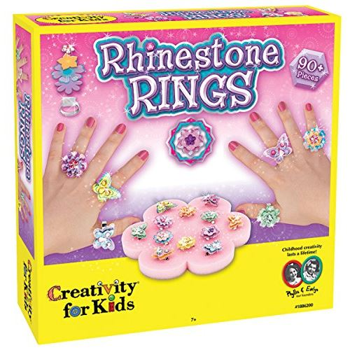 Creativity for Kids Rhinestone Ring Making Kit - Makes 12 Flower and Butterfly Rings