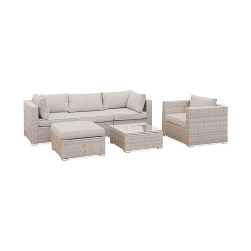 Salon de jardin en résine tressée - Caligari - Beige Coussins beige - 5 places - 1 fauteuil 1 fauteuil sans accoudoir 1 pouf 2 fauteuils d'angle une table basse