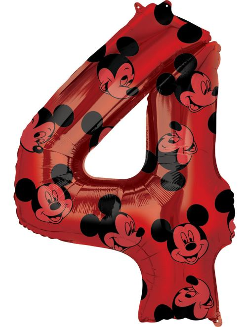 Amscan ballon d'aluminium Mickey Mouse 4 ans junior 45 x 66 cm rouge