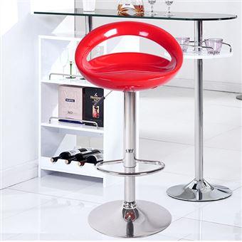 Tabouret De Bar Lot 2 Chaise Rouge En ABS Plastique Reglage Hauteur