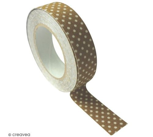 Masking Tape tissu - Coloris Tabac à pois blanc - 15 mm x 5 m