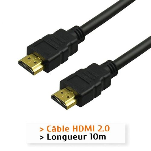 Câble HDMI 2.0, 4K 60Hz, Mâle/Mâle, Plaqué Or, Longueur 10m