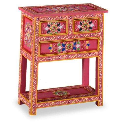 VidaXL Buffet avec tiroirs Bois massif de manguier Peinture rose