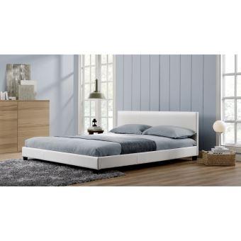LAngelo Blanc Cadre De Lit En Simili Cuir Blanc Xcm Achat - Cadre de lit simili cuir