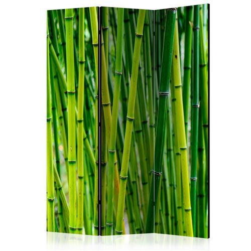 Paravent 3 volets panneaux cloison séparateur de pièce pliable recto verso Foret de bambou 135x172 cm PAR110079