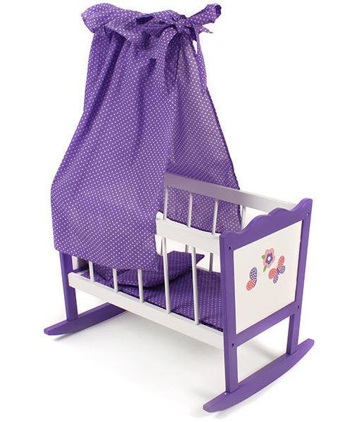 Berceau à bascule en bois poupée - violet - dim. 49x37x78 cm