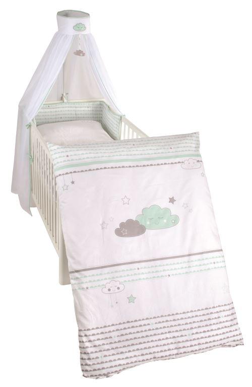 Lot de 4 pièces collection 'Happy Cloud' Roba - Taie d´oreiller, Housse de couette, Tour de lit ciel du lit avec un élément de jeu