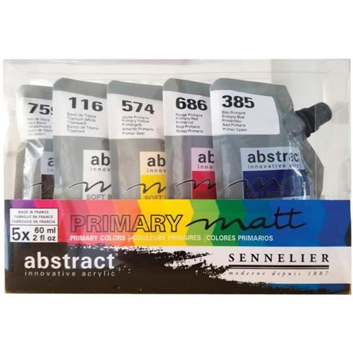 Set Peinture Acrylique en sachet - couleurs primaires mat - Sennelier
