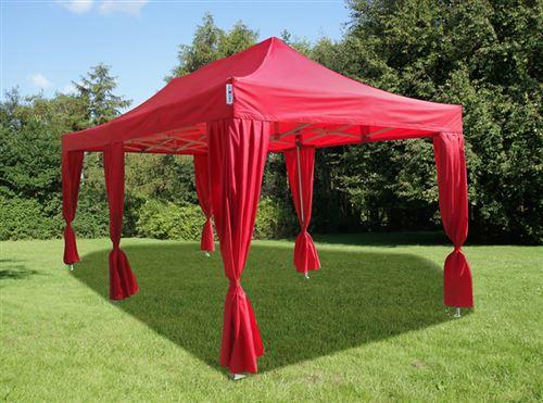 Tente pliante Chapiteau pliable Tonnelle pliante Barnum pliant FleXtents PRO 3x6m Rouge, incl. 6 rideaux decoratifs