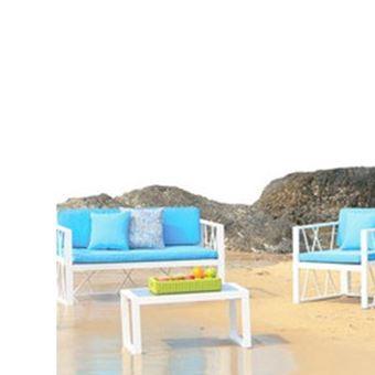 Salon bas de jardin en aluminium florence bleu - Mobilier de ...